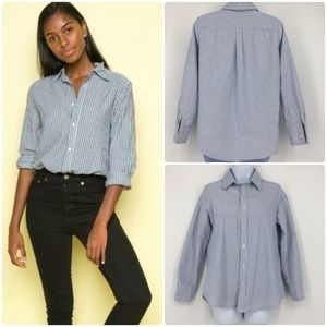 Brandy Melville Blue and White Stripe Button Down